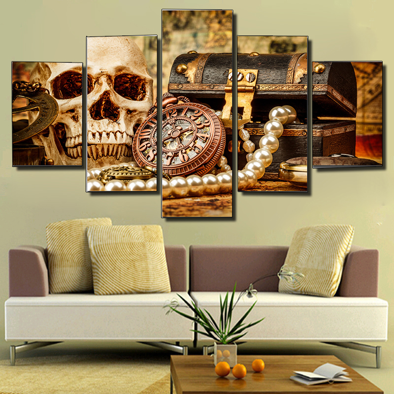 Printed rich skull picture canvas painting modern for 10x20 living room