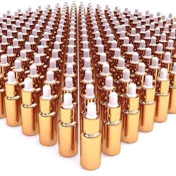 high grade 100pcs special golden glass 20ml dropper cap bottle , buy luxury empty gold 20 ml glass dropper bottle bulk