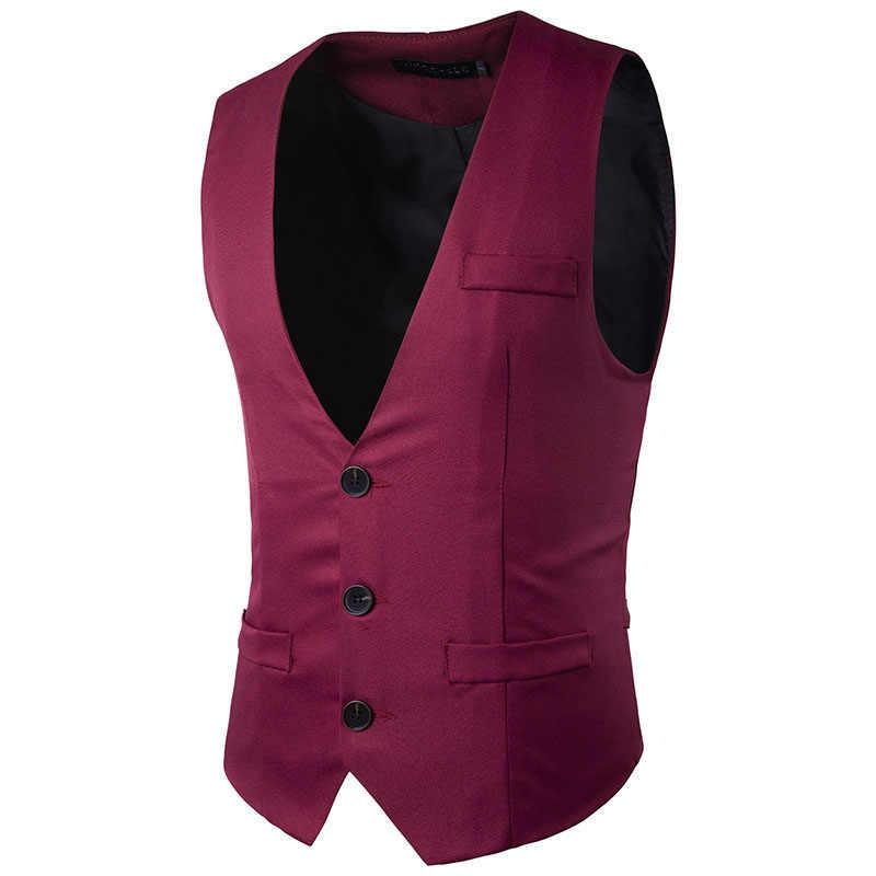 Anzug Weste Hochzeit Formale Kleid Ärmellose Jacke Kleid Business Männlichen 2019 Frühling Herbst Marke Bankett Beiläufige Dünne Weste Männer