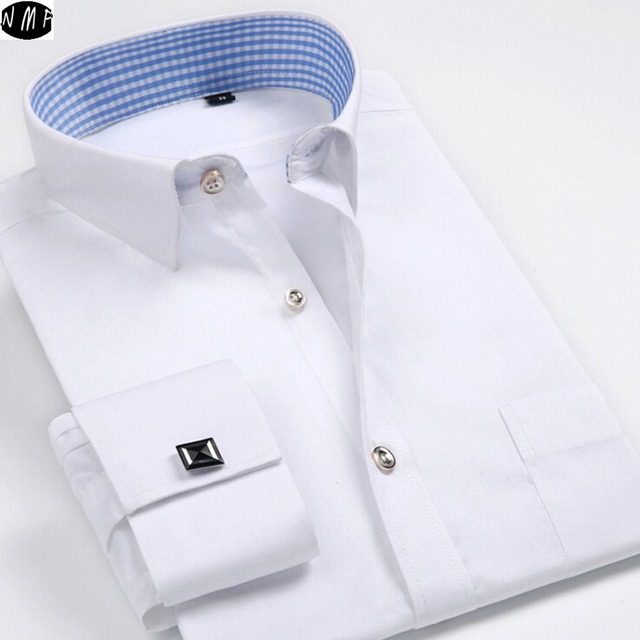 New arrive France style Solid color fold sleeve business casual Dress Shirts men Cufflinks style White wedding shirt  CY12
