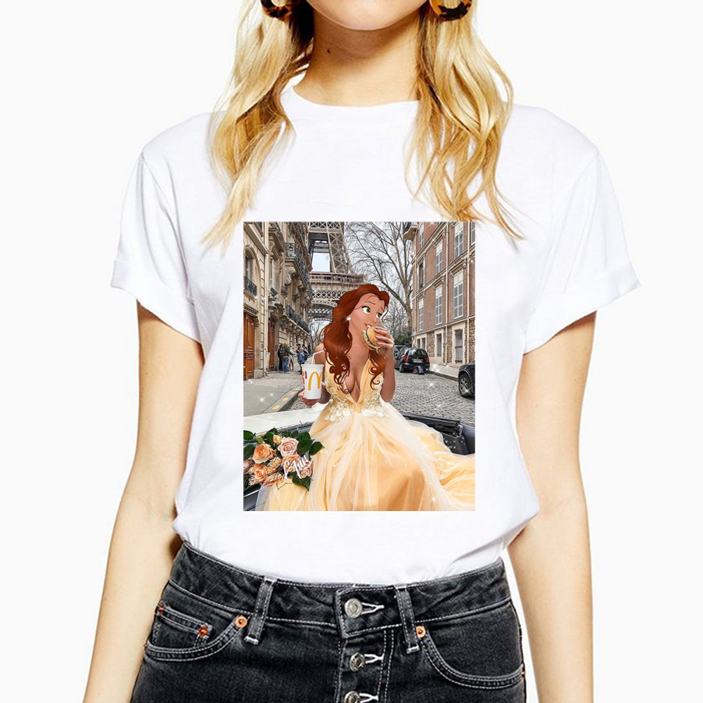TShirts Engraçados das mulheres Belle Adora Hambúrguer Cola T Shirt da menina de O-Neck Paris Romântico princesa Imprimir Casual tops de Manga Curta tee