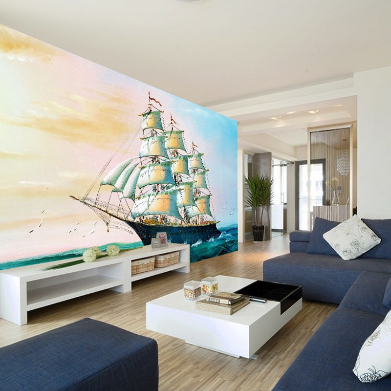 Custom photo wallpaper Modern design Blue sea colorful sailboat oil painting mural Living room background wallpaper free shipping large mural wallpaper villa living room ceiling european oil painting wallpaper