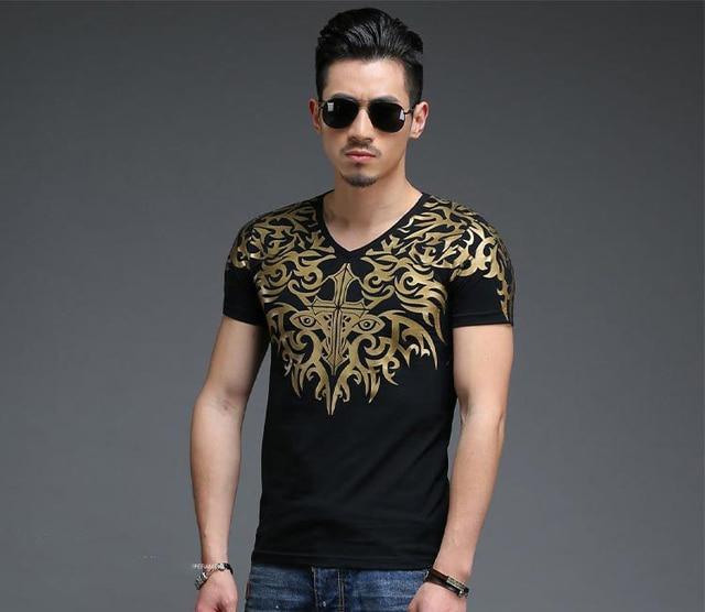 da805873ea8b6 Cotton T-shirt men shorts sleeve Summer Style Fashion Design Golden Totem  Embroidery Print Color Casual T-shirt Man Clothing