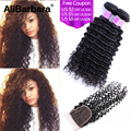Malaysian Deep Wave with Closure Cheap Malaysian Curly Virgin Hair 3 Bundles with Closure Deep Curly with Closure