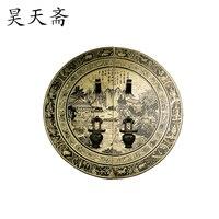 [Haotian vegetarian] antique copper fittings copper door handle Chinese Jinling Figure HTB 156 diameter 28CM