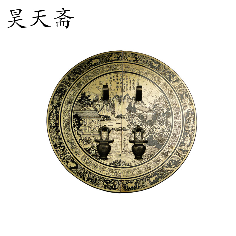 [Haotian vegetarian] antique copper fittings copper door handle Chinese Jinling Figure HTB 156 diameter 28CM