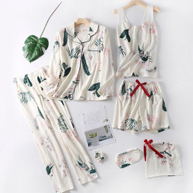 100% Cotton Autumn   Pajamas     Set   Women Sexy Print Pyjama Long Sleeve Shirt Pants 7Piece/  Set   Loose Size Home Sleepwear