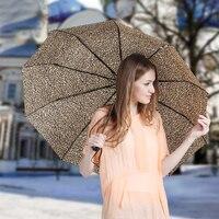 Leopard Style 10 Spokes 3 Fold Automatic Unisex Big Large Rain Umbrellas For Sale 2016 Chinese Famous Brand Umbrella Parasol