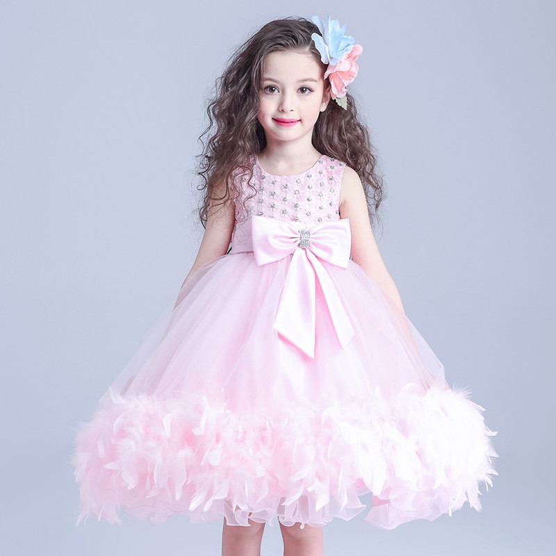 Western Style Formal Pink Girl Dress Fancy Ball Gown Flower Girl Vestidos Girl Clothes for 3 4 6 8 10 12 14 Years Old 164026