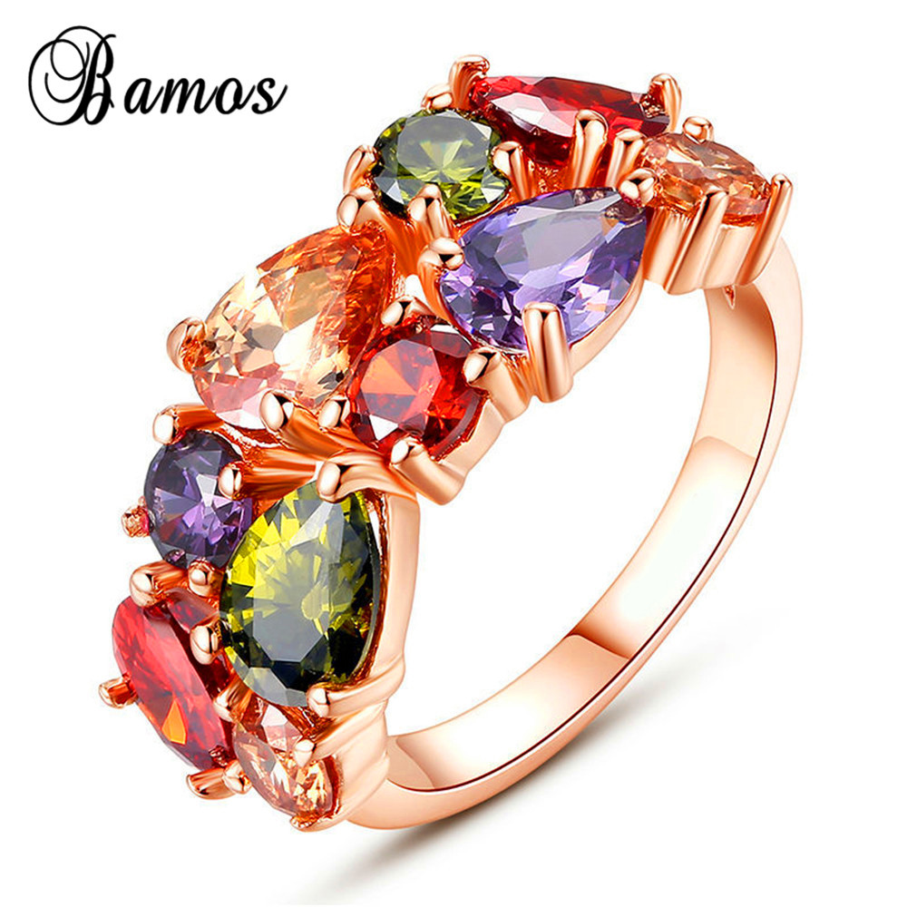 Trendy Multi Color Zircon Stone Ring Rose Gold Filled