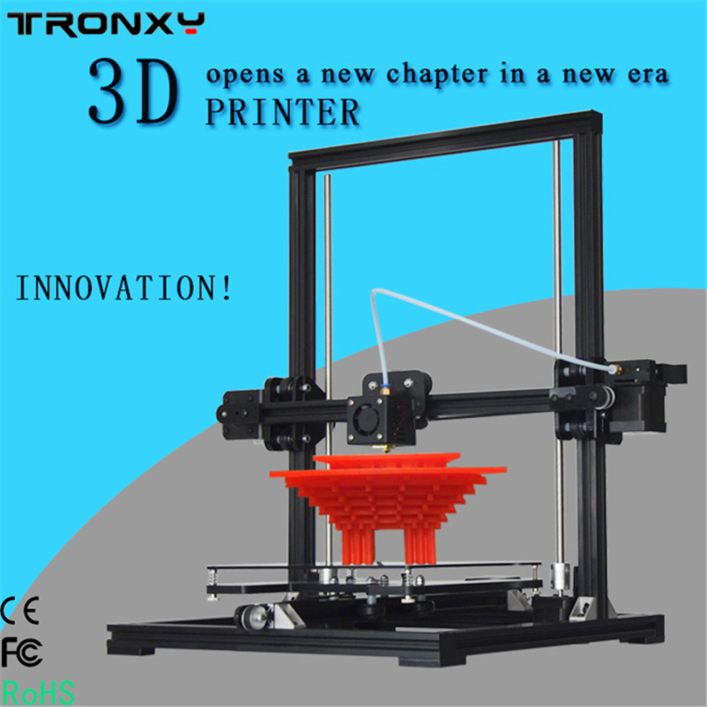 Tronxy X3 imprimante 3D bricolage conception métal cadre bowden extrudeuse grande taille d'impression 220x220x300mm LCD boîte de contrôle utiliser carte SD
