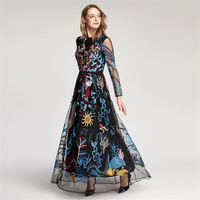 UNIQUEWHO Ladies Women Leaf Embroidery Dress Black Apricot Luxury Tulle Dress Long Sleeve Elegant Maxi Dress for Spring Summer
