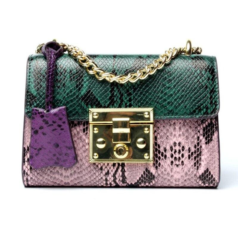 Новый бренд сумка Для женщин корова Разделение кожаные сумки на ремне через плечо цепи серпантин сумку высокое качество Для женщин Курьерс...