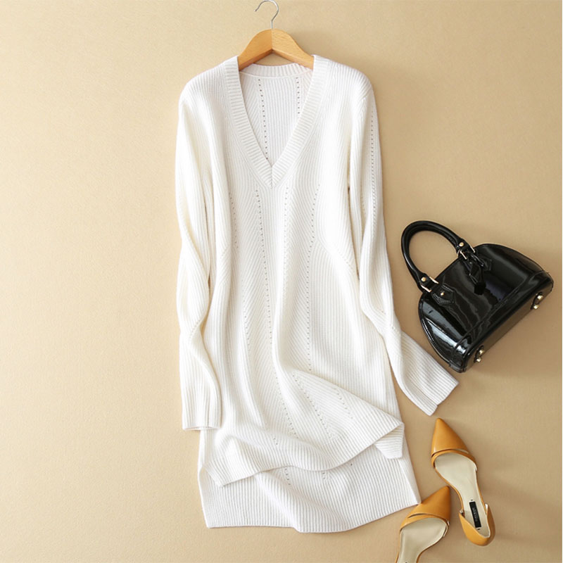 100% Pure Cashmere Dress Woman Winter Long Sleeves V-neck Long Hollow Out Knit Dress Womens Dresses New Arrival 2018