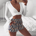 Wong Long Sleeve White Crop Top V Neck Sexy Short Top Cropped Beachwear 2017 Winter Vintage Party Club Casual Black Elastic Top