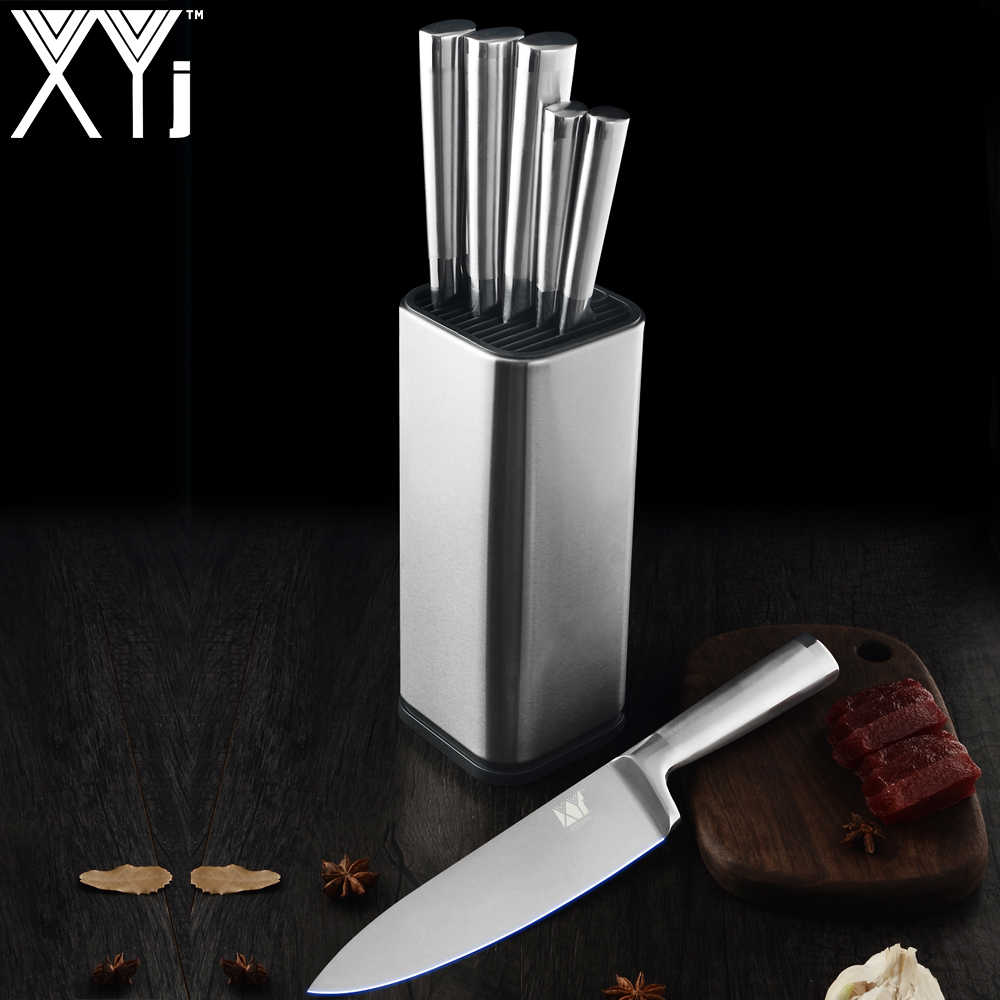 XYj Stainless Steel Kitchen Knives Set Holder Block Stand Fruit Paring Utility Santoku Chef Slicing Bread Knive Tool Accessories