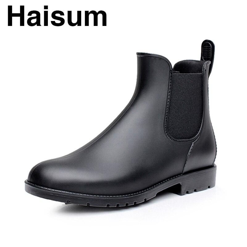 Botas de chuva de moda à prova d' água dos homens baixos botas de chuva sapatos de água botas dos homens casuais curtas dos homens Chelsea H-102