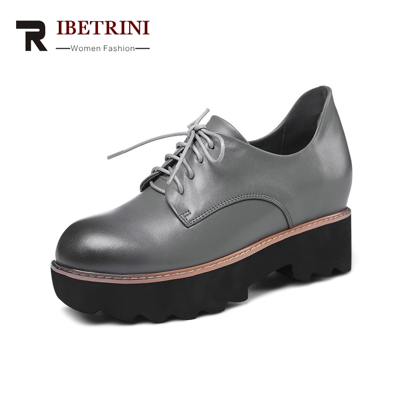 RIBETRINI 2018 Spring Autumn Fashion Genuine Leather Women Flat Platform Shoes Woman lace-up Mixed Color Height Increasing brand new spring shoes woman genuine leather fashion lace up women flat shoes casual platform shoes women
