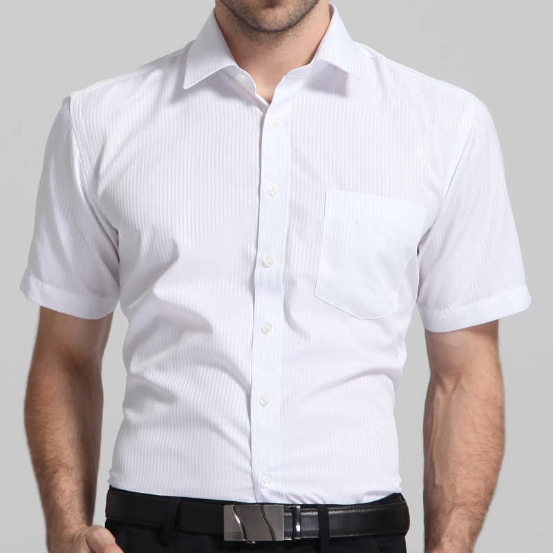 Uomo Regular-fit Estate Manica Corta Solido Classico della Camicia di Patch Tasca Formale di Lavoro di Business Office di Base Camicie Eleganti