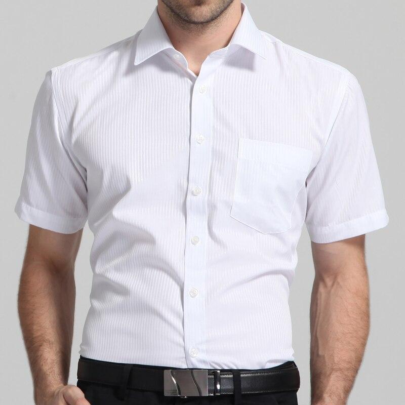Men's Regular-fit Short Sleeve Solid/Twill/Striped Shirt Patch Left Chest Pocket Formal Business Work Office Basic Dress Shirt