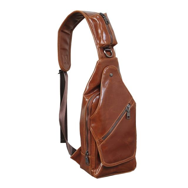 New Spring leather Chest Bag Men Vintage Waist Pack Male Casual Mini Bag  Designer Sling Bag 6b434911ffe6c