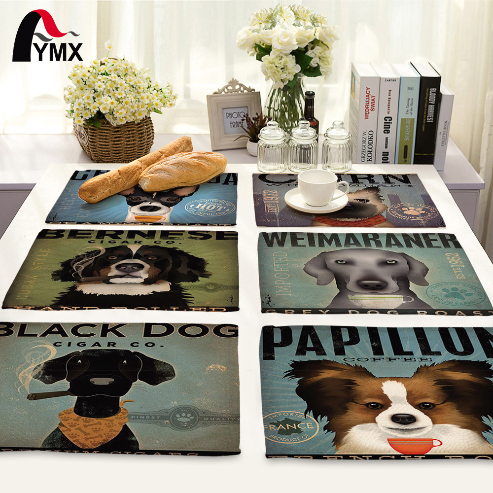 Kitchen Art 32cm: 42X32CM Cute Cartoon Dog Printed Table Napkins Dinner