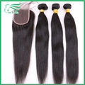 7A barato peruana virginal del pelo recto con cierre de nudos blanqueados y pelo del bebé, 3 paquetes de extensiones de cabello humano sin procesar