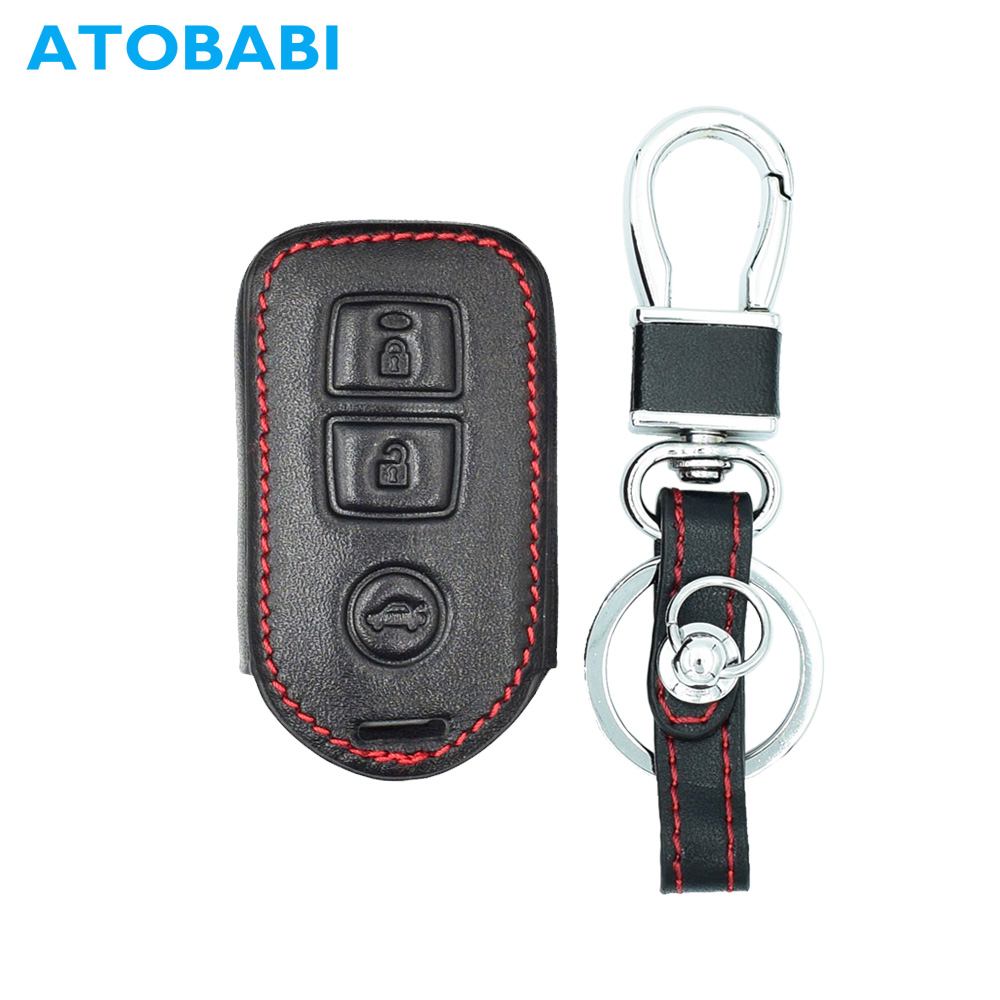ATOBABI Top Layer Leather Car Key Case Cover for Toyota Camry Highlander Yaris Original 3 Buttons Split Smart Remote Control Key