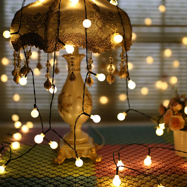 1.5M 3M 6M Waterproof LED Ball String Lights Battery or USB Powered For Christmas Tree Wedding Home Indoor Decoration Led String