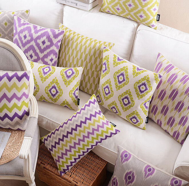 Purple Yellow Geometric Pillow Almofadas Case For Seat Chair Car Bed Boho Cushion Cover Decorative Throw Pillows In From Home Garden On