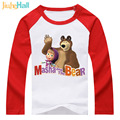 Jiuhehall Free Shipping 3 Types Boy Girl Masha Long Sleeve T-Shirts Kids Cartoon Clothes 100% Cotton Children's Tops DCM151