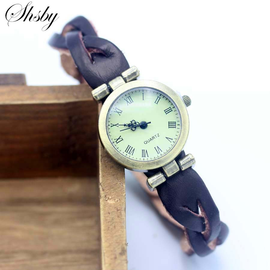 Shsby Simple Unisex ROMA Vintage Watch Leather Strap Bracelet Watches Twist Cross Women Dress Watches Bronze Female Wristwatch