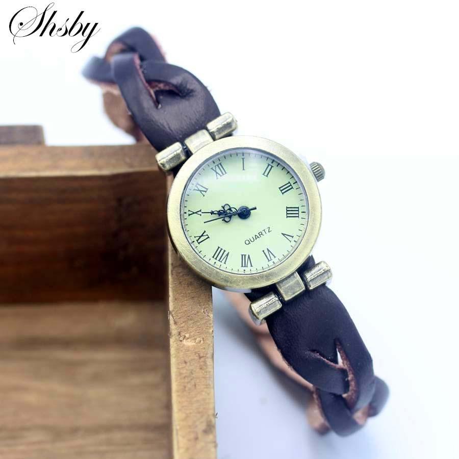 Shsby Simple Unisex ROMA Vintage Watch Leather Strap Bracelet Watches Twist Cross Women Dress Watches Bronze Female Wristwatch