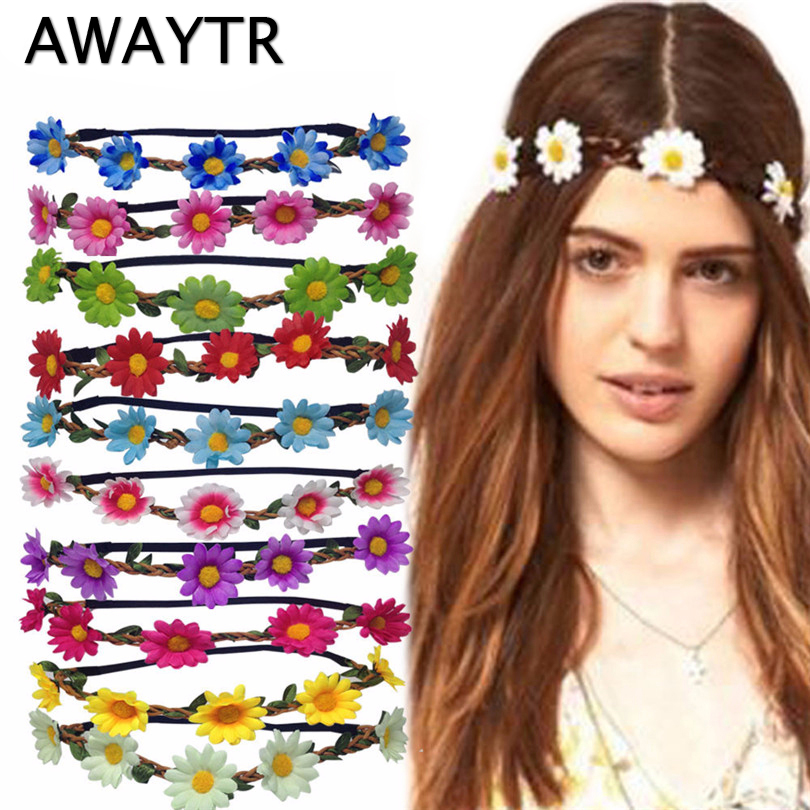 AWAY Boho Daisy Hair Bands för Women Hair Accessoarer New Wreath Headbands Festival Scrunchy Elastic Flower Hair Garland