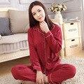 2017 Outono Nova chegada mulheres pijamas de algodão de manga comprida camisola two-pieces tamanho grande decote em v respirável pijama definido desgaste casa