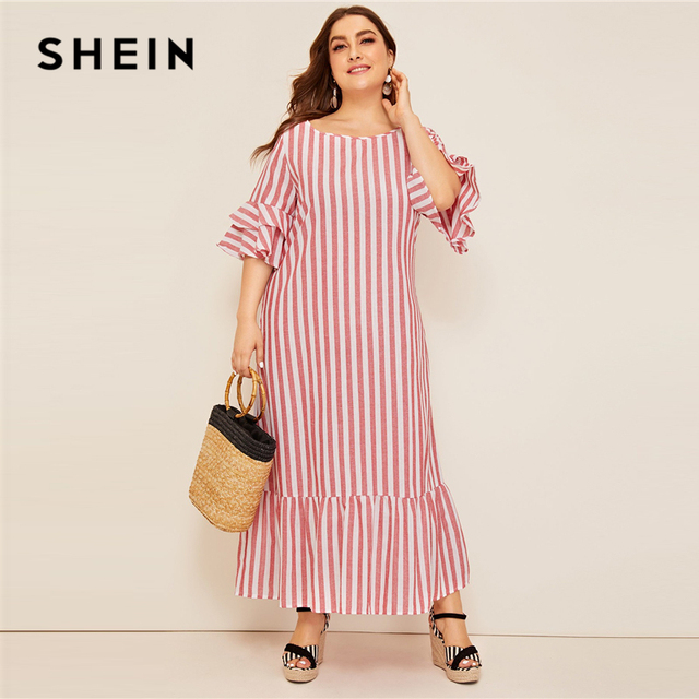 SHEIN Plus Size Bell Sleeve Ruffle Trim Striped Maxi Dress 2019 Women Spring Summer Casual Ruffle Hem Half Sleeve Tunic Dresses