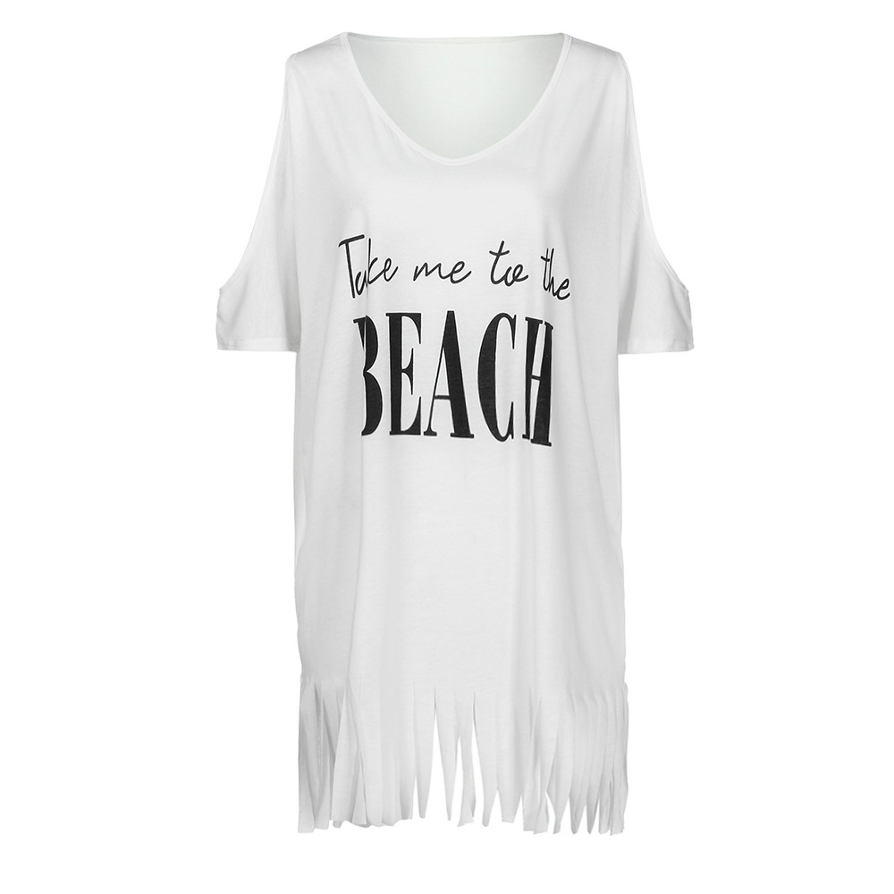 Womens Tassel Letters Print Baggy Swimwear Bikini Cover Beach Dress Off Shoulder Women's Swimsuits Swimwear Covers Dress