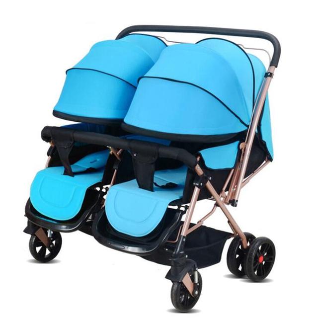 Cochecito de bebé Para Los Gemelos Doble Asientos de Cochecito de Bebé Plegable Paraguas Cochecito De Viaje