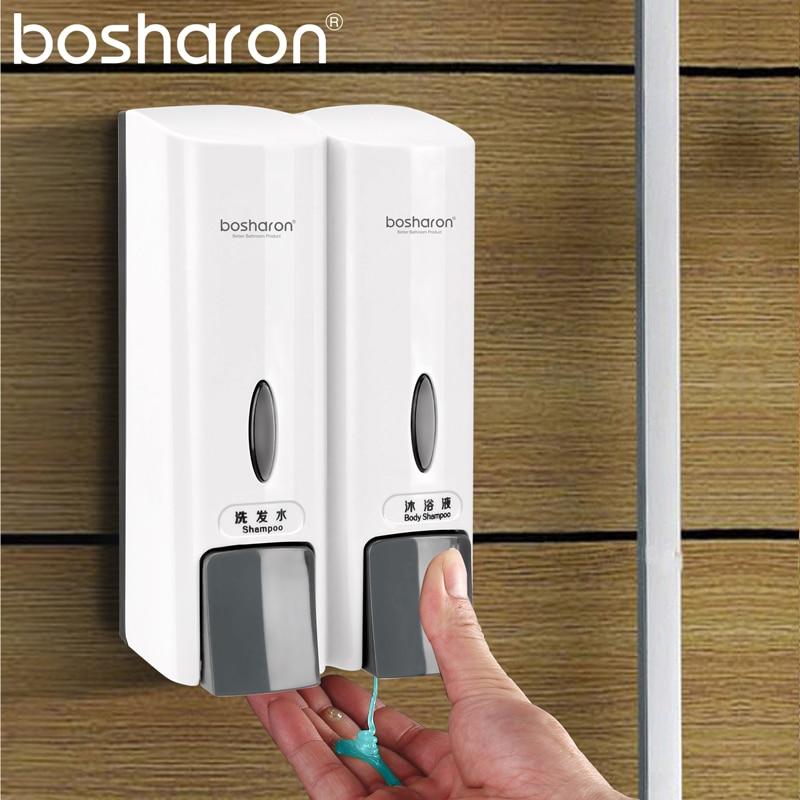 Double Hand Liquid Soap Dispenser Wall Mount 300ml Each Shampoo Shower Gel Body Wash Bottle Home Bathroom Accessories Organizer