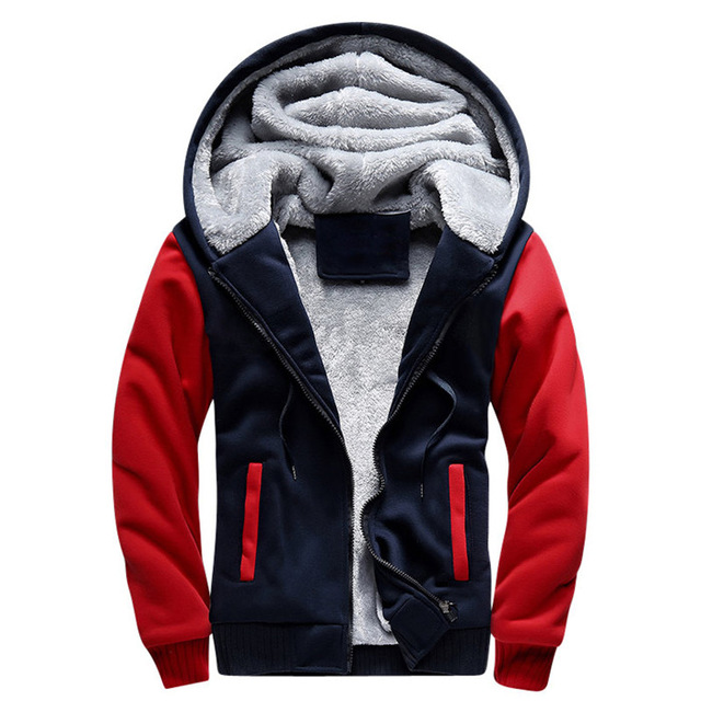 Men Hooded Jacket 2019 Warm Causal Fleece Hooded Outerwear Coats Male Autumn Winter Solid Thick Zipper Jackets Casacos Masculino