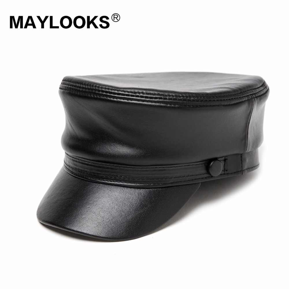 2018 adulto del hombre Gorras Rushed invierno sombreros militares Maylooks  Cordero genuino guapo tapas Cs43 bc87dbc056d