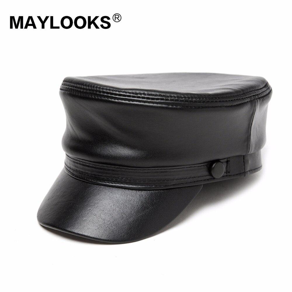 2018 Gorra de hombre adulto Gorras Corrieron Invierno Sombreros militares Maylooks Cuero genuino piel de cordero Guapos Cs43