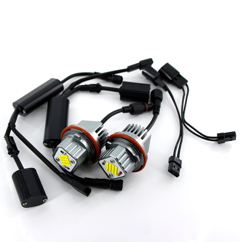 2Pcs 80W Error Free LED Angel Eyes Marker Lights Bulbs For BMW E39 E53 E60 E61 E63  E65 E66 E87 525i 530i xi 545i X3 M5 X5 00-09