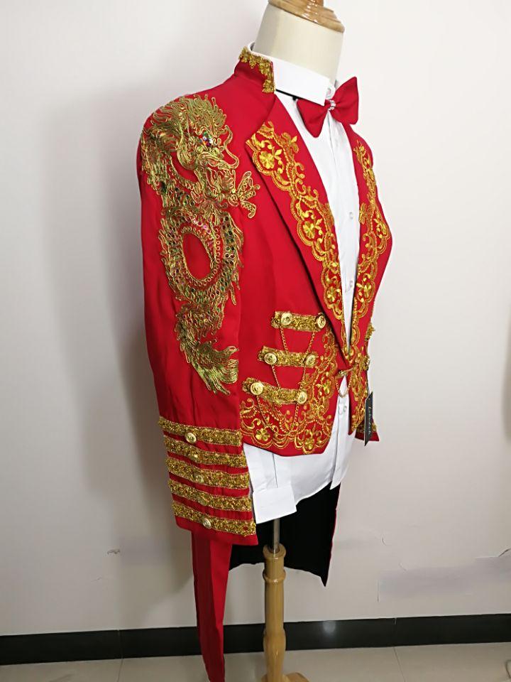 Formelle Rouge Magie Mâle Magique Top Royal 2015 Pigeon D'aronde Pour Red Chanteur Costume De Smoking Danseur Robe Queue Masculin Mode FnvYYfIq