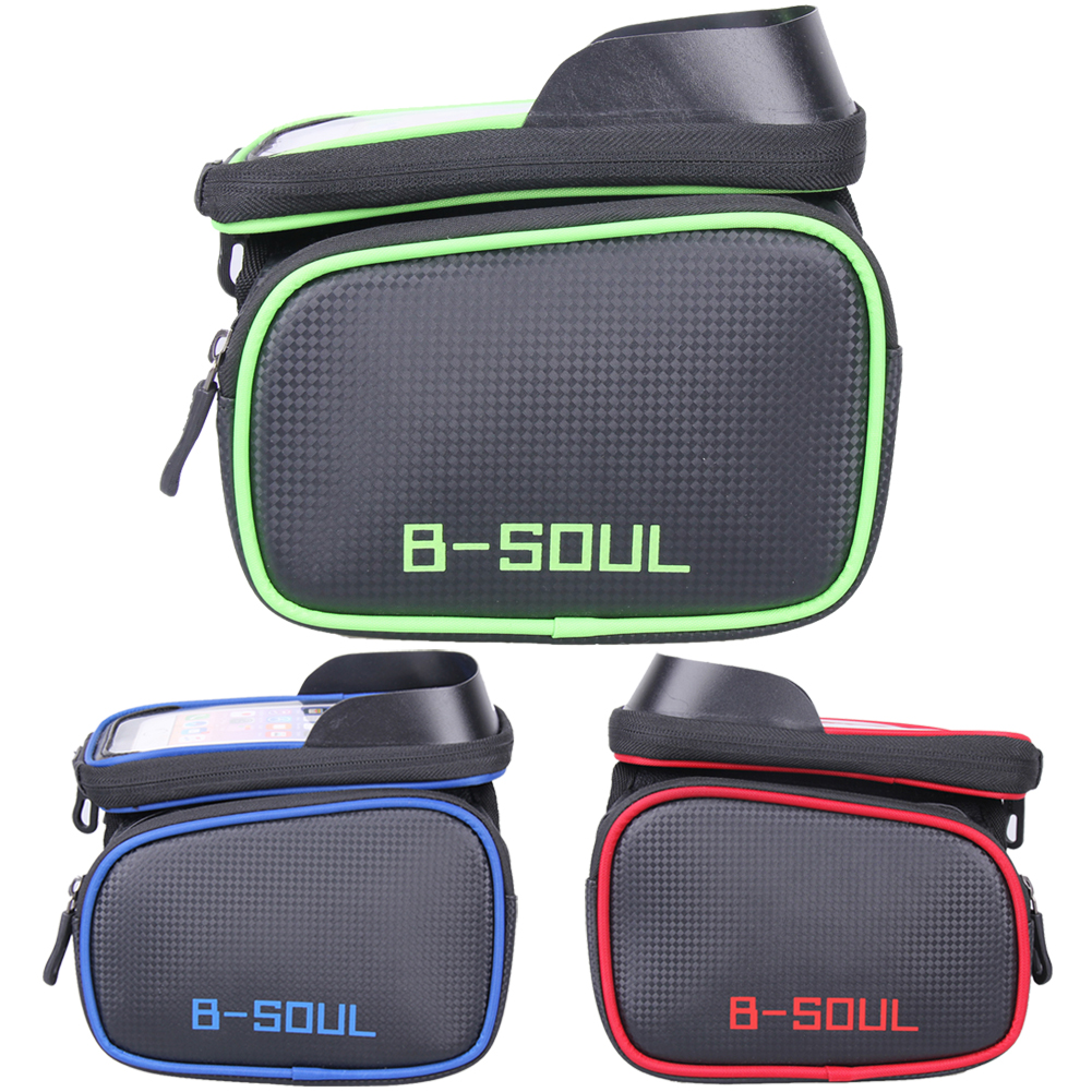 B-SOUL Bicycle Front Frame Tube Bag MTB Road Bike Double Reflective Strap PU Bag Touchscreen Phone Case For 5.8/6.2 Cellphone