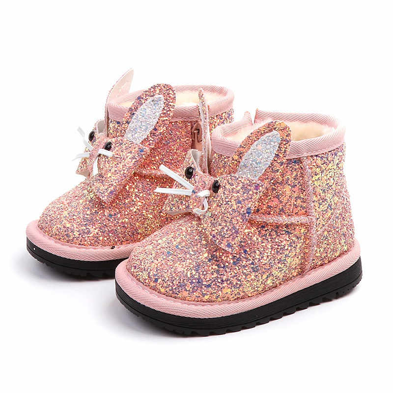 9e1d16efddc4d Bling Baby Girl Boots 2018 New Bunny Toddler Boots Sequined Leather Warm Winter  Shoes for Girls