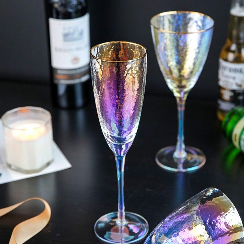 Japonês cor deslumbramento martelo padrão família cálice de vinho de vidro taça de champanhe de vidro