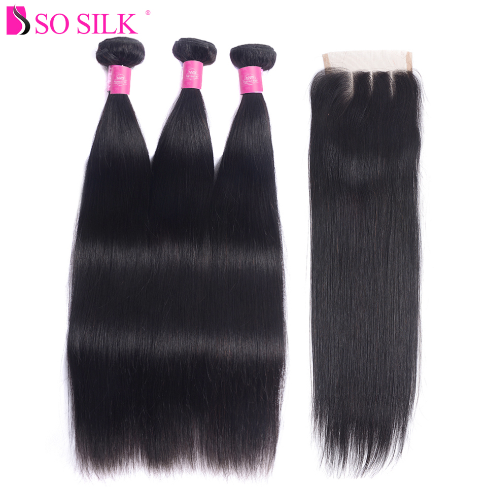 So Silk 100% Remy Human Hair Bundles With Closure 4X4 Free Part Lace Closure with Brazilian Hair Straight 3 Bundles Natural 1B