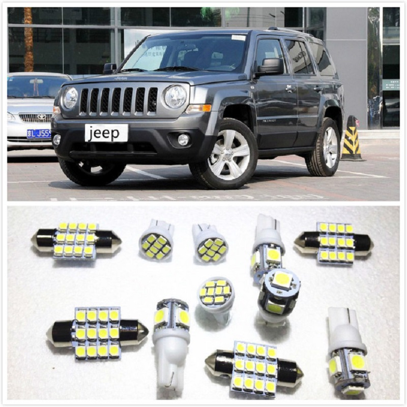 11 set White LED Lights Interior Package 10 & 36mm Map Dome For <font><b>Jeep</b></font> Patriot Cherokee Grand Cherokee Commander <font><b>Compass</b></font> 1998-2019 image