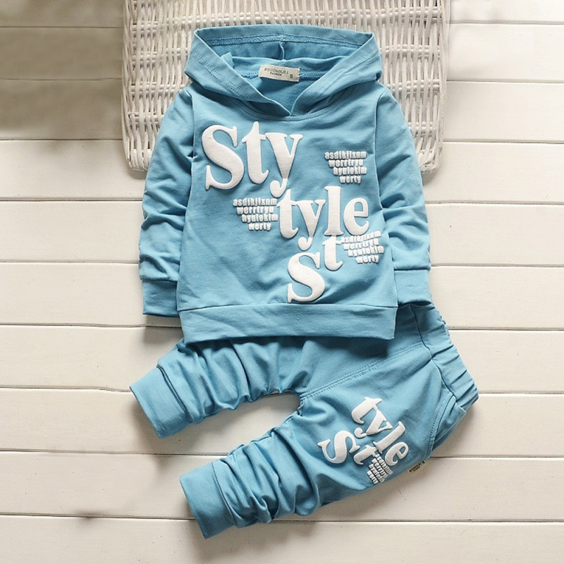 Autumn Children Clothing Sets Letters Printed Hoodie Long Sleeve Kids Clothes Set Boys Girls Hooded Coat + Pants 2 Pcs Suit Hot